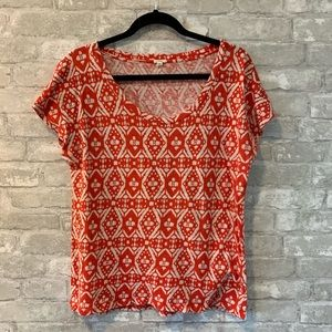 J Crew XL Red Aztec Design Cap Sleeve Top